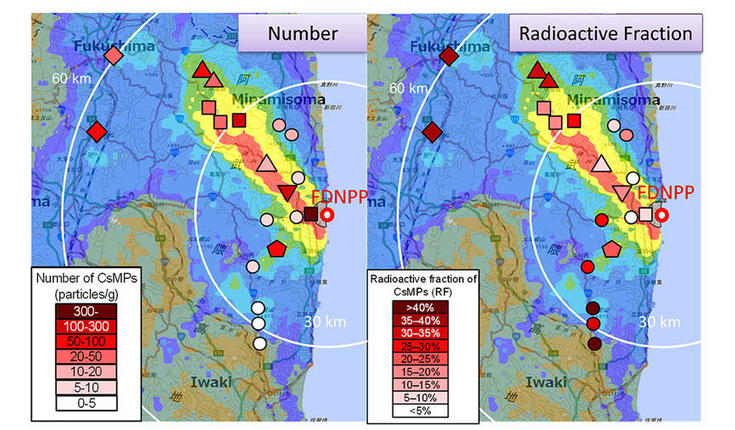 number of cesium-rich microparticles in Fukushima Japan