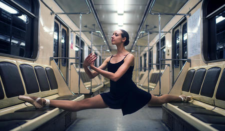 Ballet dancer in the subway.
