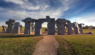 The monument of Carhenge, which consists of 39 automobiles arranged in a circle
