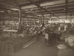 Sepia picture of factory workers