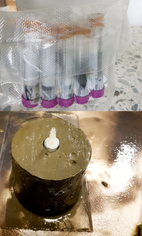 bottom: taking mini sub-core from sediment core, top: samples stored in vacuum bags