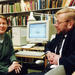 Professors Terttu Nevalainen and Matti Rissanen demonstrate the essential tools of the linguist in the year 2000, that is books and a computer. Photo: Veikko Somerpuro.