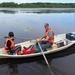 Siqi and Tom sampling from a rowing boat, which despite its size provides a suitable sampling platform in shallow lakes. © TJ / ABRU