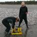 Iines and Karo taking sediment cores during ebb tide on an intertidal mudflat of the Dutch Wadden Sea. © IS / ABRU