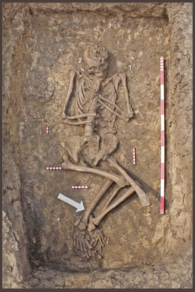 Excavated burial of a young Yamnaya woman in Bojt, Hungary