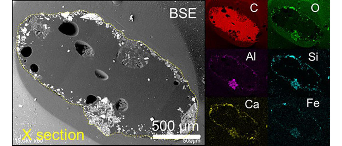 Back-scattered electron (BSE) image of the cross section of the most radioactive particle (FTB26) accompanied by elemental maps of its major constituents.