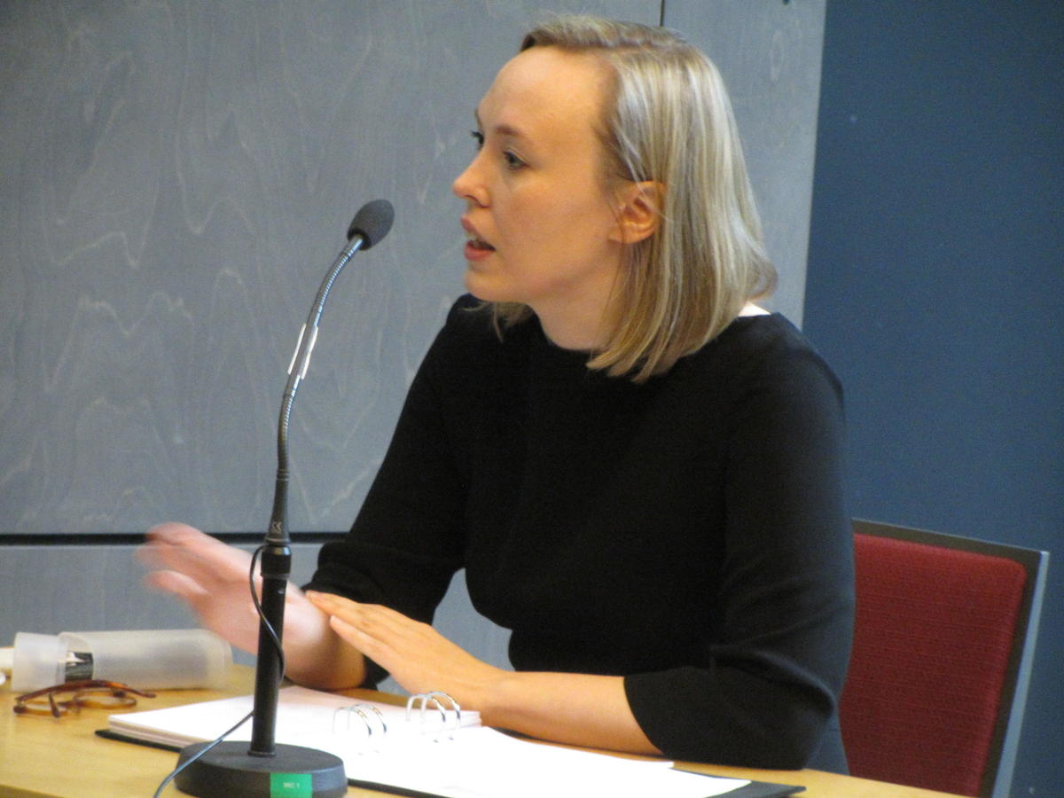 Iines Salonen answering questions at the defence