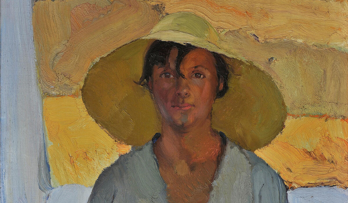 Painting of a human figure with a hat. The Straw Hat by Nikos Lytras.