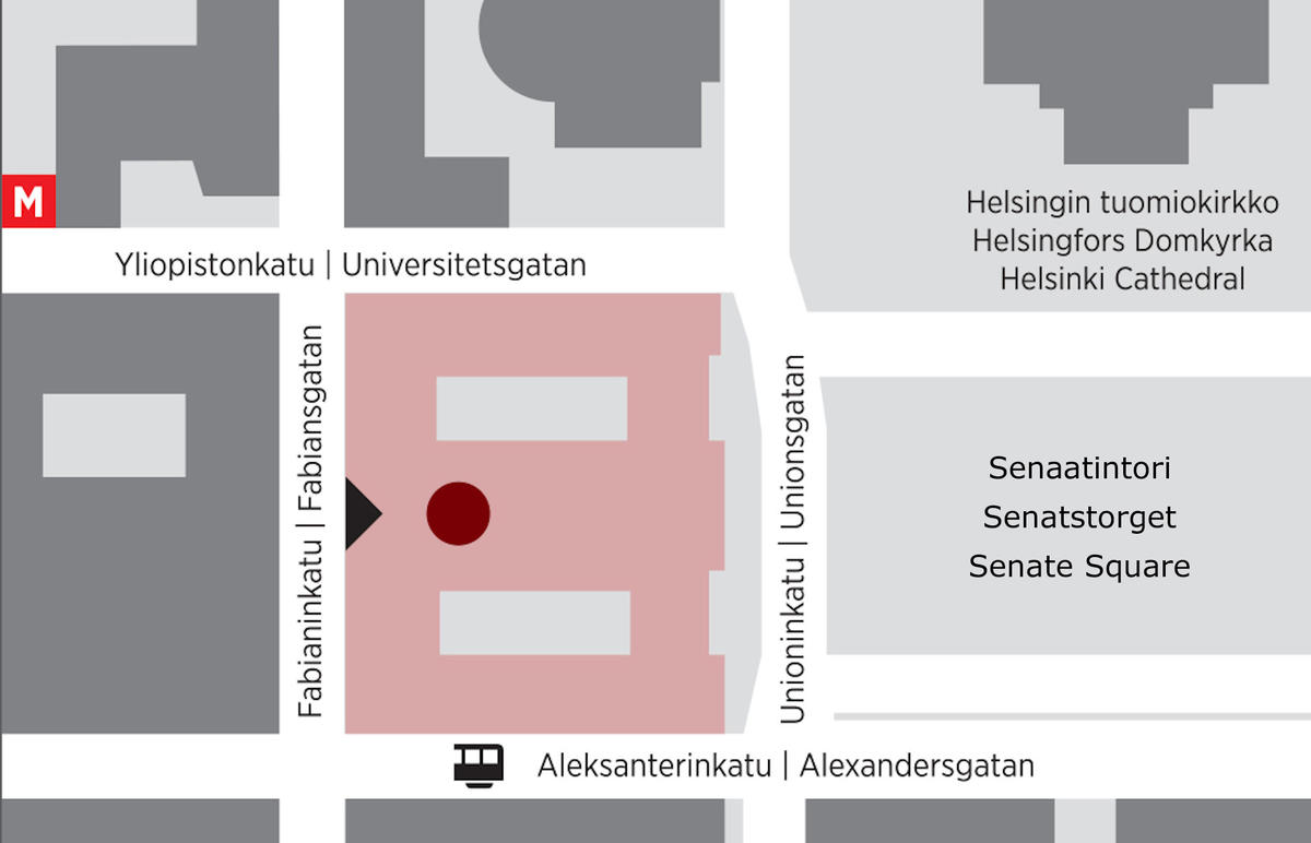 Map showing the location of the University Museum at the adress Fabianinkatu 33.