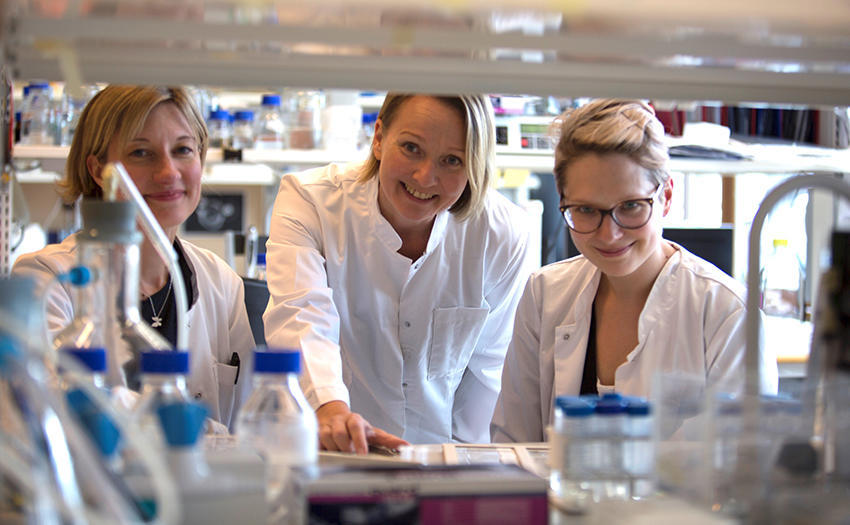 Researchers Pipsa Saharinen, Laura Hakanpää (right) and Elina Kiss (left).