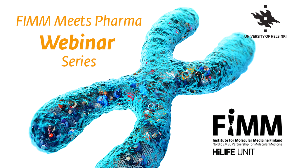 FIMM Meets Pharma Webinar Series cover image with blue chromosome and FIMM and University of Helsinki logos.