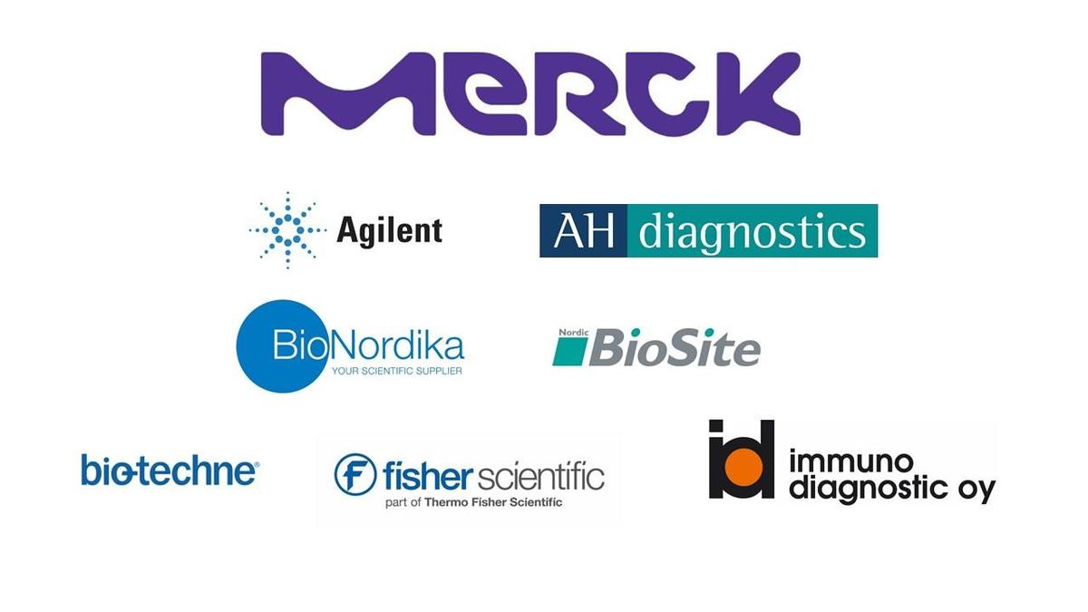 Sponsors logos, Finnish Developmental Biology Society and Stem Cell Network meeting 2019