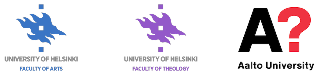 Faculty of Arts, Theology, and Aalto logos DHH18