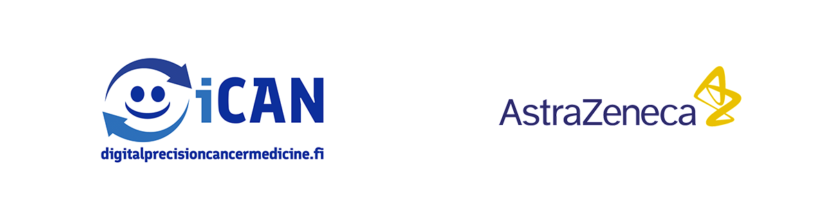 Logos of iCAN and Astra Zeneca