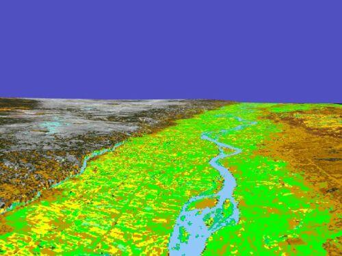 A 3D model of the northern edge of Jebel Bishri following the Euphrates river valley constructed by using X-SAR 2000 space shuttle mission DEM tiles with Landsat-7 imagery. Markus Törmä, © SYGIS.