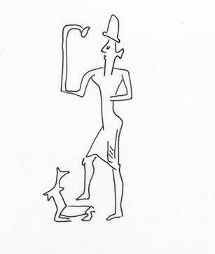 The image of god MARTU (Akkadian Amurru), the eponymous god of the Amoirtes and chief shepherd, as depicted in the Mesopotamian glyptics. Redrawns by Minna Lönnqvist (Silver) after Pierre Amiet.