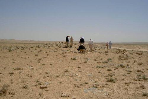 Site I 17 at Nadra: measuring and studying a ring cairn/tumulus tomb. Photo: Gullög Nordquist 2004, © SYGIS.