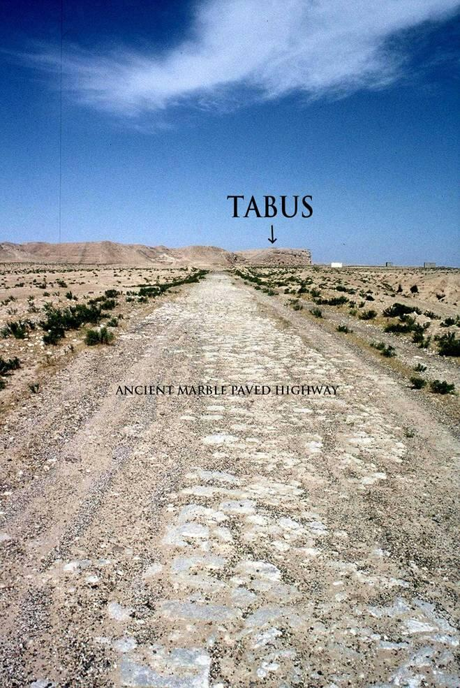 A paved Roman road following the Euphrates and the edge of Jebel Bishri beneath the Late Roman-Byzantine fort of Tabus. Photo: Eivind Seland 2004, © SYGIS.
