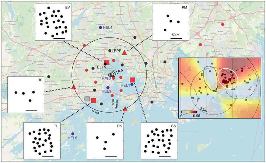 Map of seismic stations around the drill site in Otaniemi