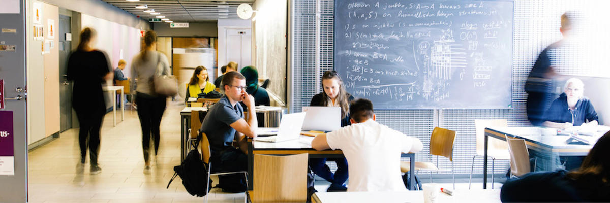 Students studying at Kumpula campus