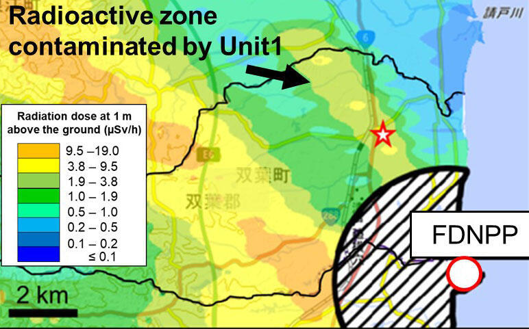 Radioactive zone contaminated by Unit 1
