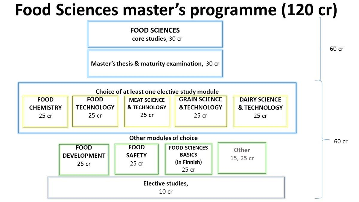 Programme stucture of the Master's Degree Programme in Food Sciences
