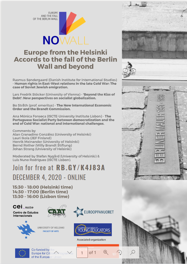 Webinar announcement: Europe from Helsinki Accords to the fall of the Berlin Wall and beyond