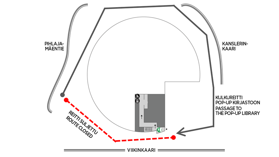 Map of the route to the pop-up library. Passageway from the southside of the Info Centre is closed. The library can be reached by going round the Info Centre from the north, on Kanslerinkaari side.