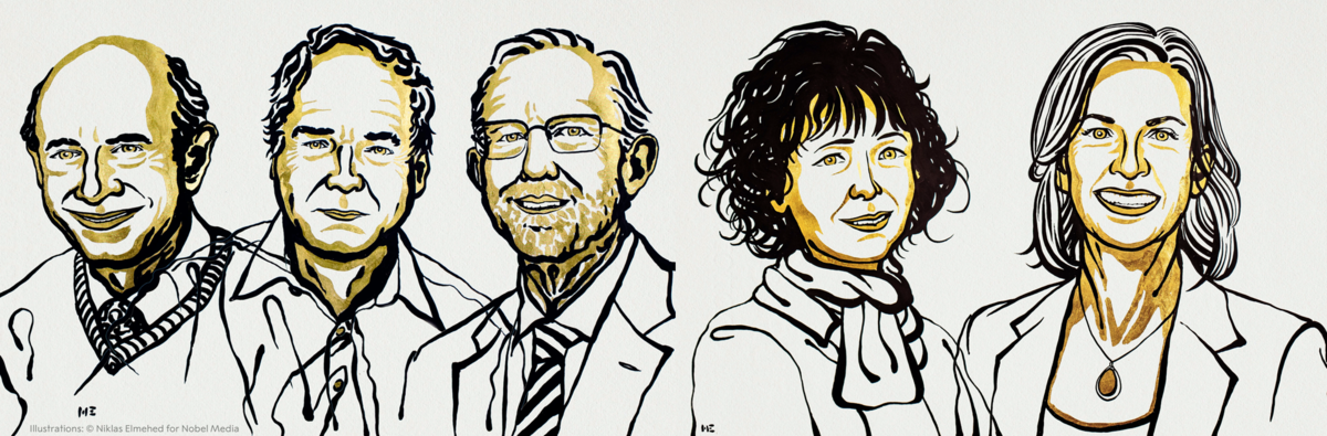 Harvey J. Alter, Michael Houghton, Charles M. Rice, Emmanuelle Charpentier and Jennifer A. Doudna