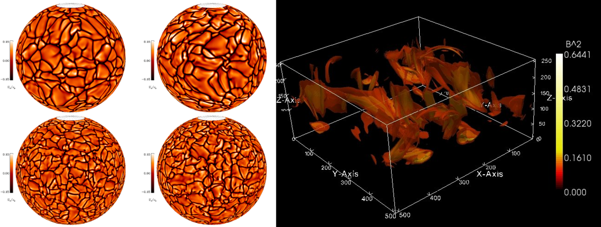 Results from numerical convection and dynamo simulations.