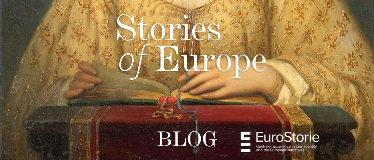 Woman reading EuroStorie Stories of Europe blog banner.