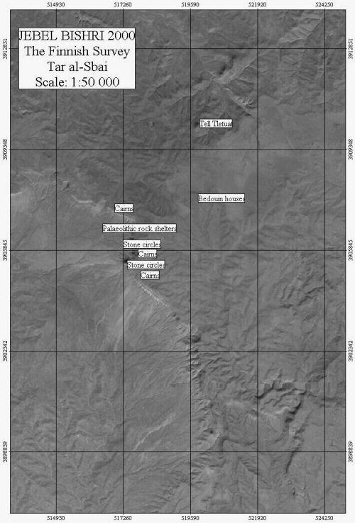 A satellite map indicating ancient sites at Tar al-Sbai at the southwestern edge of Jebel Bishri, a mountain in Central Syria. Mapping on the panchromatic channel of Landsat-7 by Minna Lönnqvist (Silver).