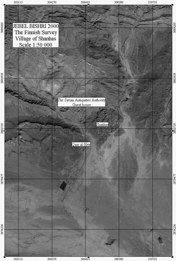 A satellite map for the location of the Bedouin village Shanhas on the swestern piedmont of Jebel Bishri. Mapping by Minna Lönnqvist (Silver) on a Lansat-7 satellite map.