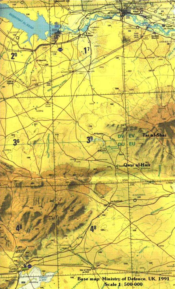 UK aviation map displaying western parts of Jebel Bishri. Scale 1: 500 000. © UK MOD Crown Copyright, published with a permission of HMSO.