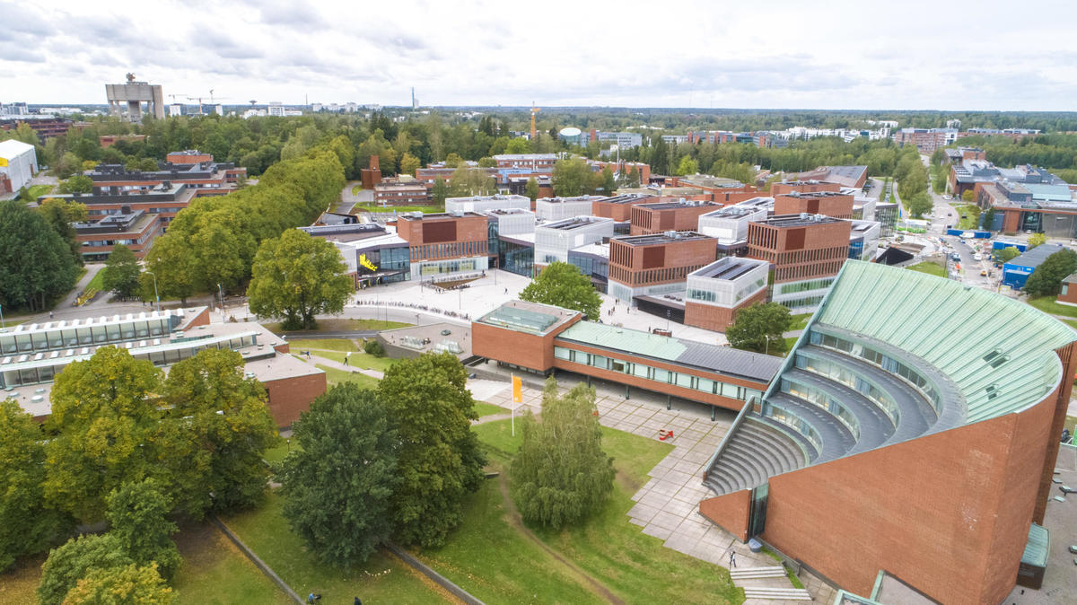 Aerial view of the Aalto Undergraduate Centre. Photo: Mikko Raskinen, Aalto University