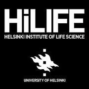 Logo white text on black: Hilife- Helsinki institute of life science and the flame logo of University of Helsinki