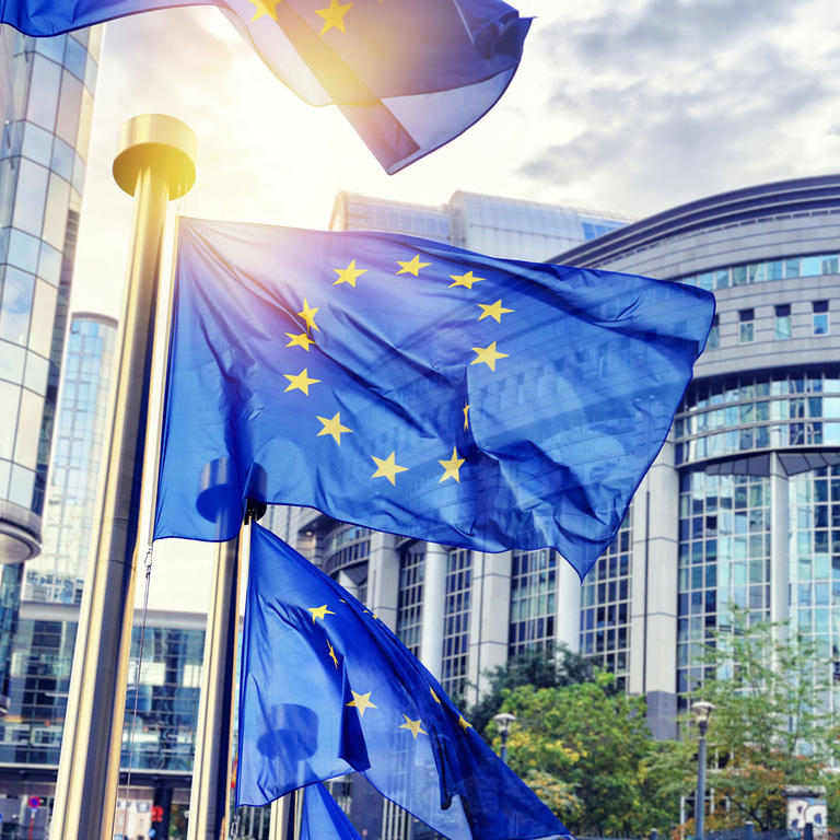European flags in front of the European commission building in Brussels: Research funded by European Research Council ERC.