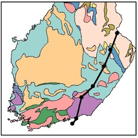 BALTIC line on a generalized lithological map of Finland.