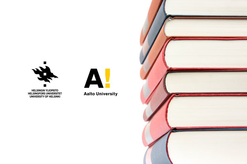 Logos of the University of Helsinki and Aalto University and a pile of books.