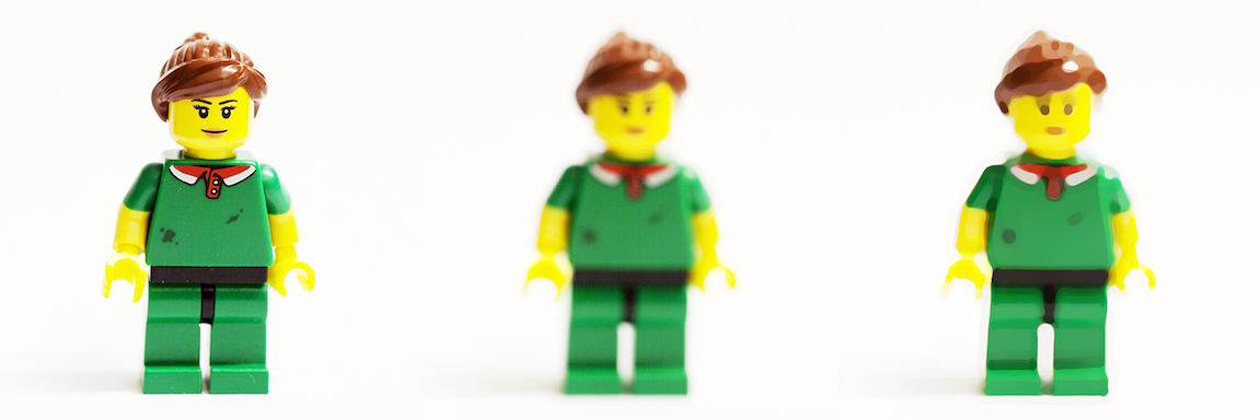 Deblurring applied to an image of a lego figure