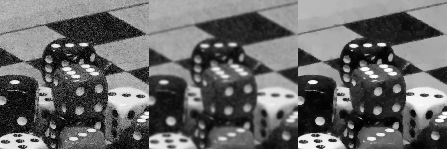 Denoising applied to an image of dice