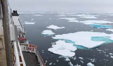 Sea with floating ice seen from a deck of a boat. Image by Anders Mathiasen.