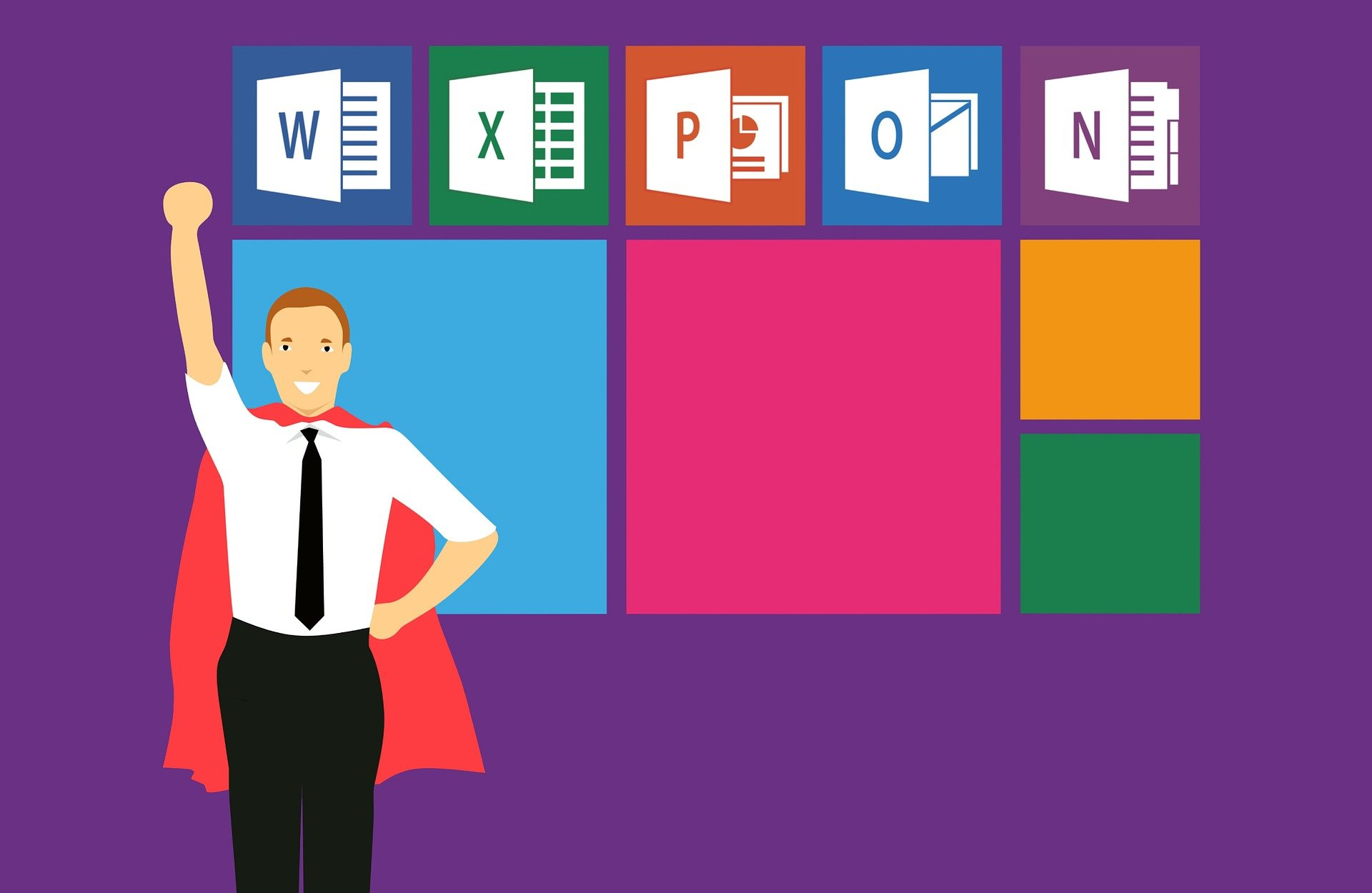A man with a cape in front of microsoft office symbols.