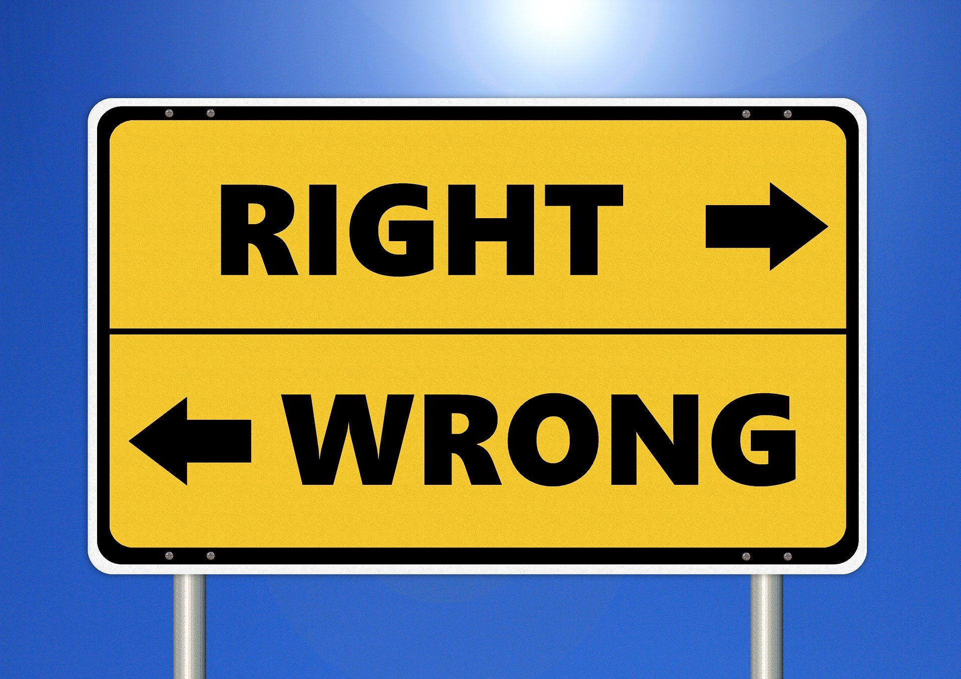 A right or wrong sign.