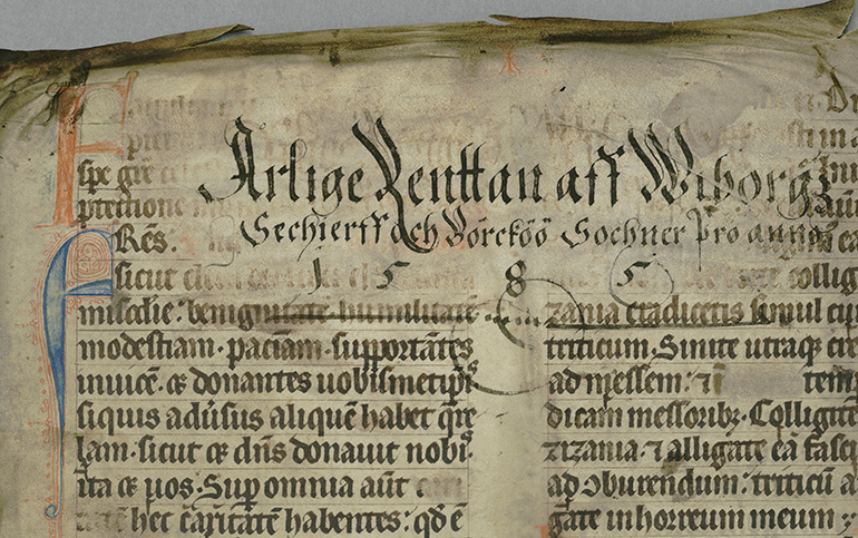 Leaf from a medieval manuscript with a bailiff's title from the sixteenth century.