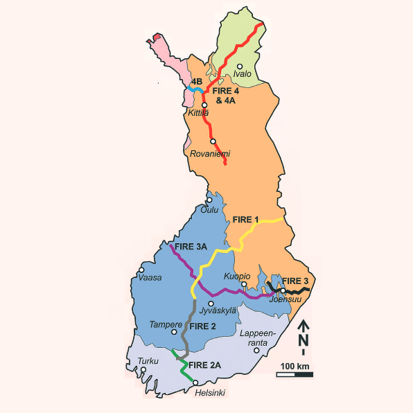 FIRE seismic lines on the map of tectonic provinces of Finland.