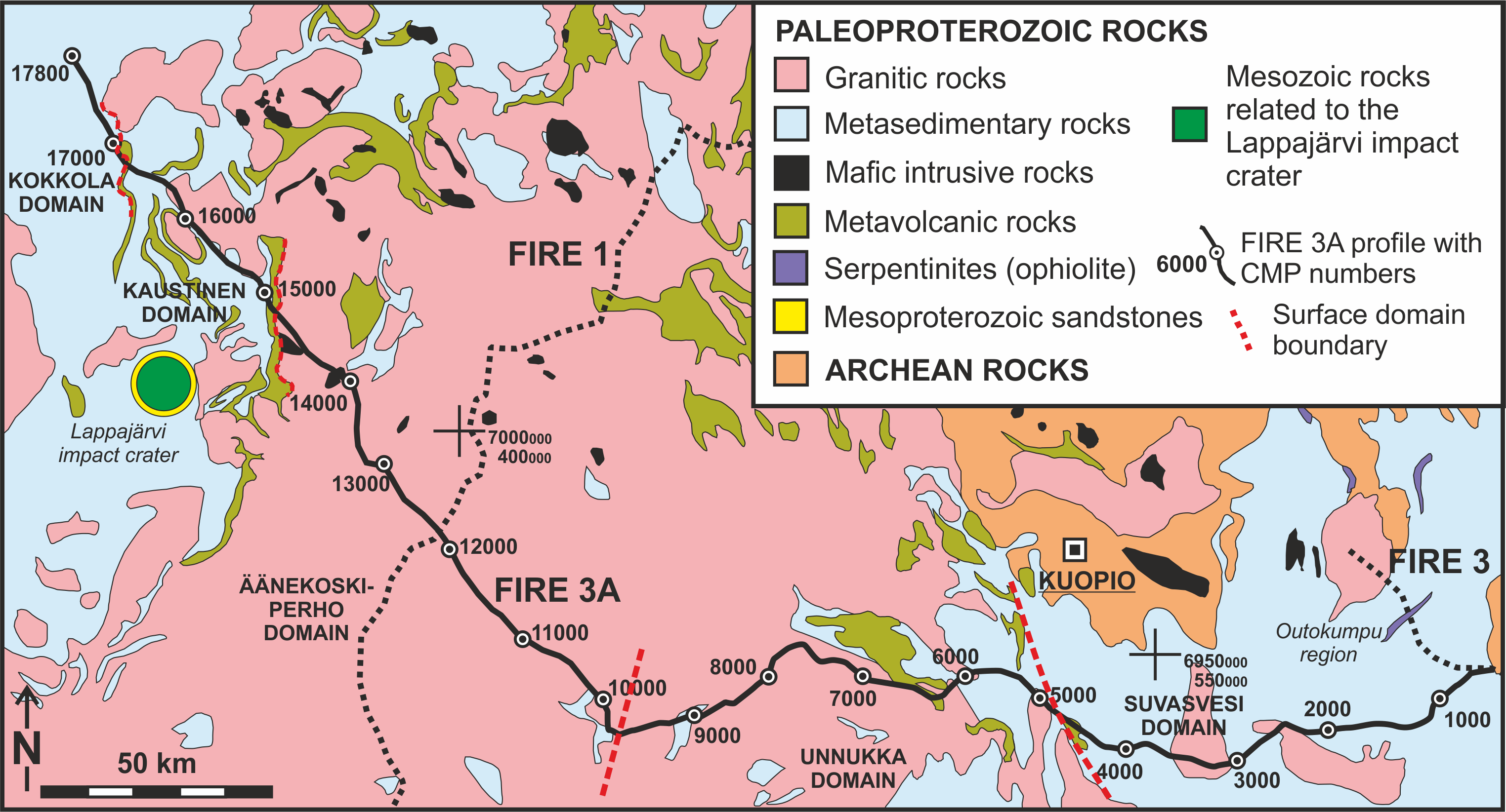 FIRE 3A survey line on top of the geological map