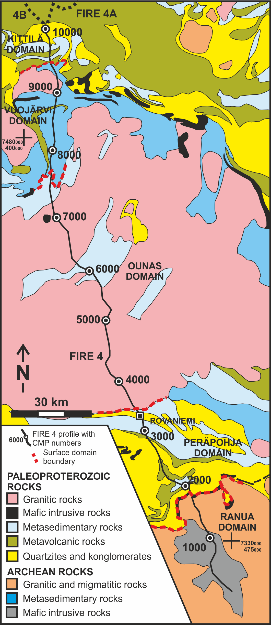 FIRE 4 survey line on top of the geological map