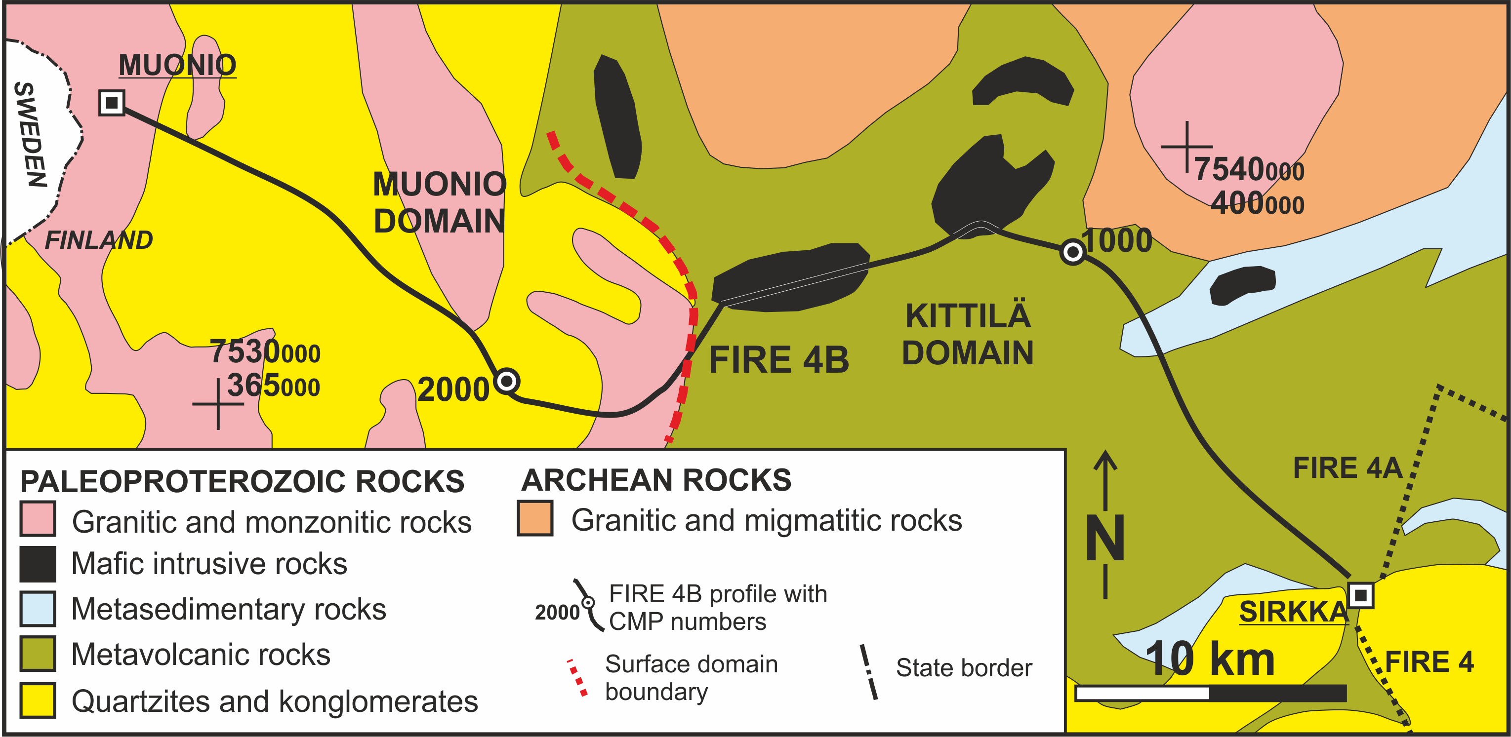 FIRE 4B survey line on top of the geological map