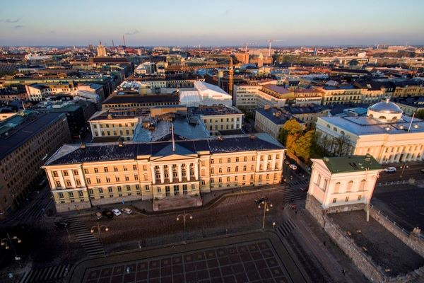 Main building of the University of Helsinki seen from the air